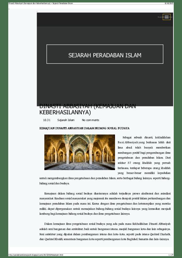 Kemajuan Bani Abbasiyah : kemajuan, abbasiyah, Dinasti, Abbasiyah, (Kemajuan, Keberhasilannya), Robiatuz, Zuniar, Academia.edu
