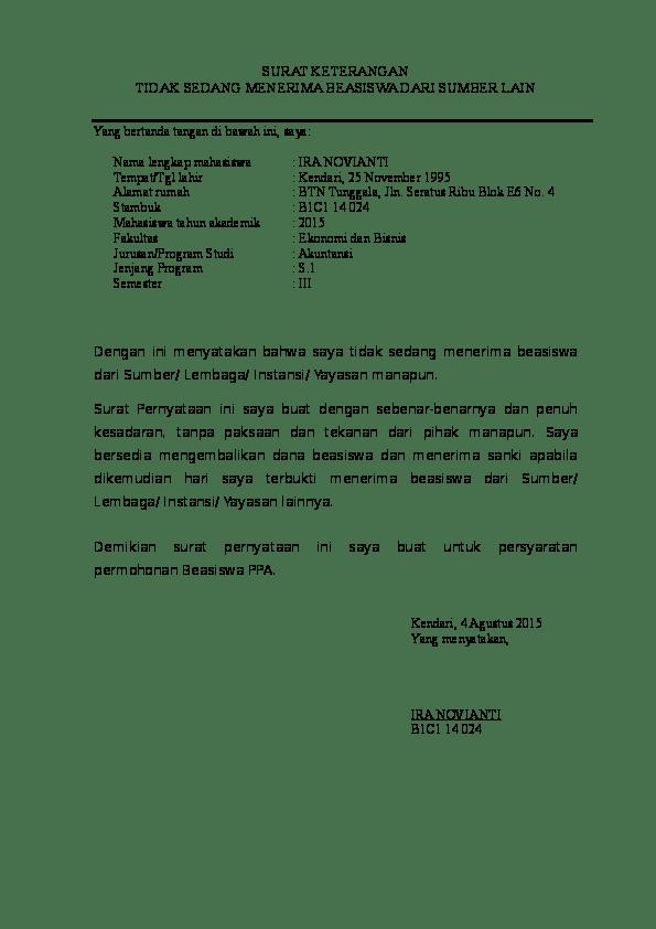 Contoh Surat Pernyataan Tidak Menerima Bantuan Beasiswa