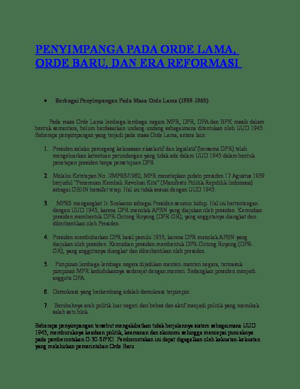 Bentuk Penyimpangan Pada Masa Orde Baru : bentuk, penyimpangan, PENYIMPANGA, LAMA,, BARU,, REFORMASI, Tsamarah, Academia.edu
