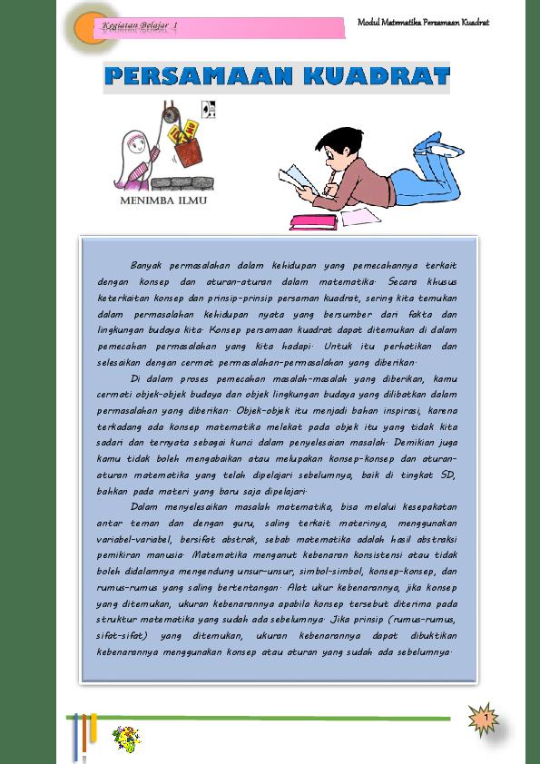 Materi Persamaan Kuadrat Pdf : materi, persamaan, kuadrat, Modul, Matematika, Persamaan, Kuadrat, Sulis, Academia.edu