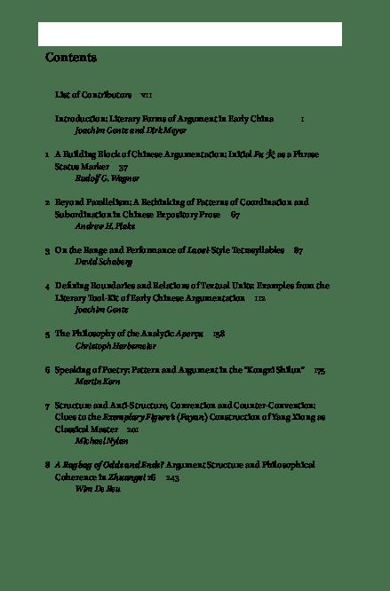 (PDF) Literary Forms of Argument in Early China (edited with Joachim Gentz) SINL123 | jgentz@staffmail.ed.ac.uk Gentz and Dirk Meyer - Academia.edu