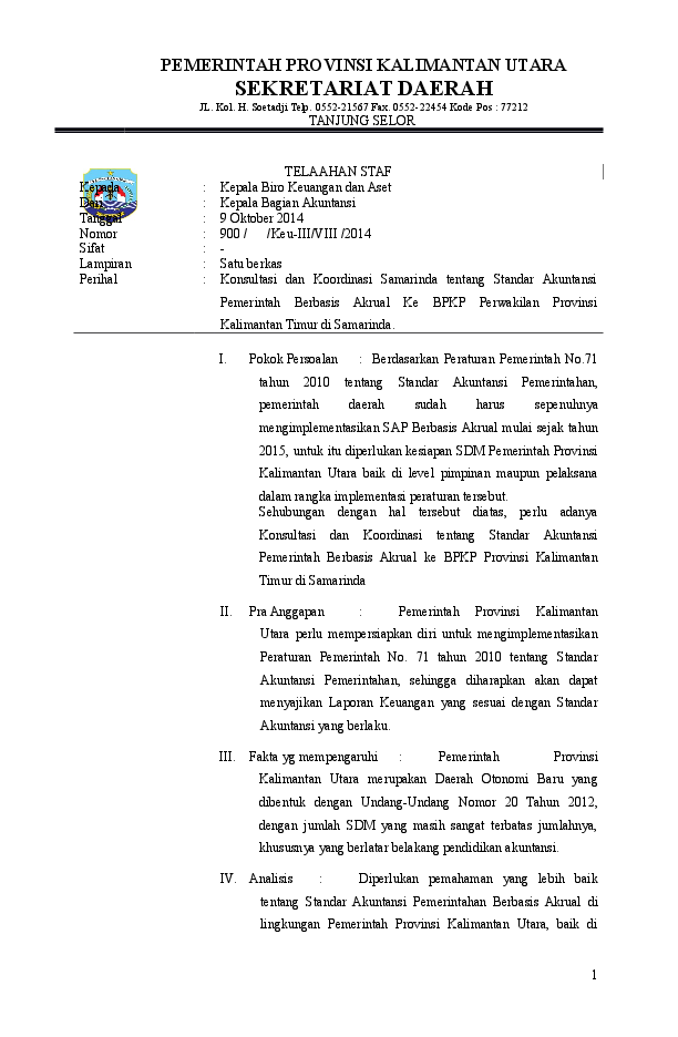 Telaahan Staf Doc : telaahan, Contoh, Surat, Telaahan, Bupati, Kumpulan, Penting