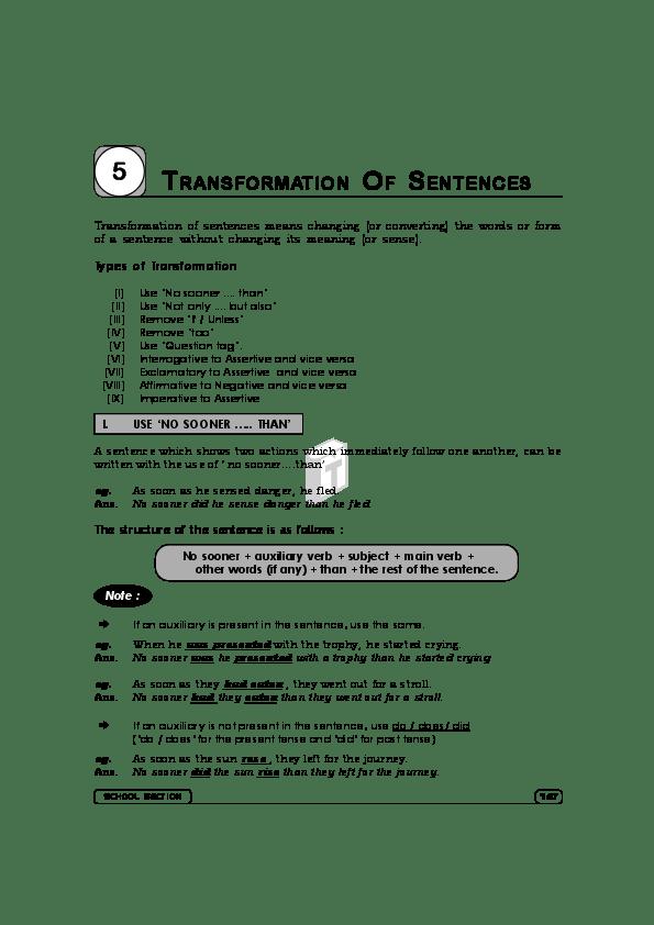pdf transformation of sentences