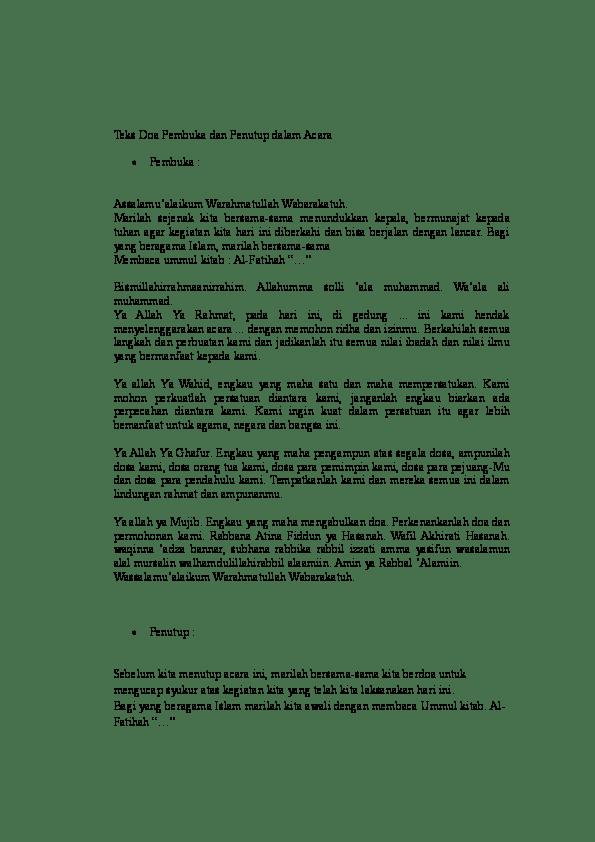 Doa Pembuka Acara : pembuka, acara, Pembuka, Penutup, Dalam, Acara, Nurfaizah, Divia, Academia.edu