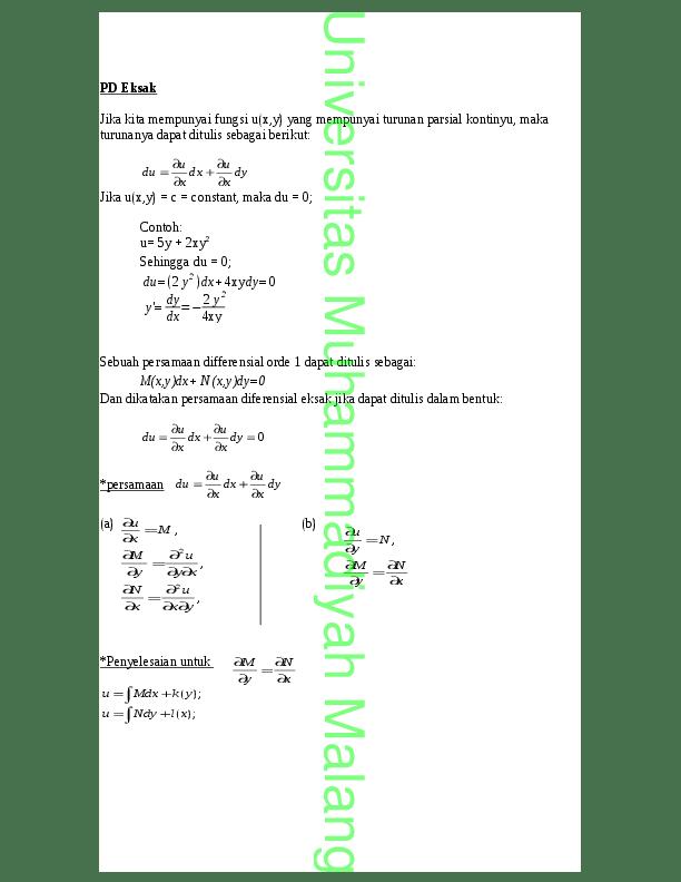 Persamaan Diferensial Eksak : persamaan, diferensial, eksak, Persamaan, Diferensial, Eksak, Rahmat, Budiarjo, Academia.edu