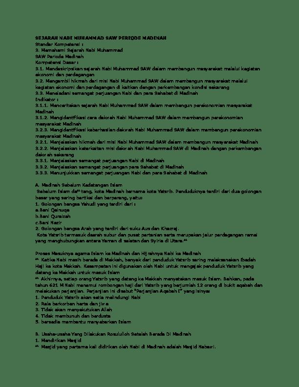 Sejarah Perjuangan Nabi Muhammad Saw Periode Madinah : sejarah, perjuangan, muhammad, periode, madinah, SEJARAH, MUHAMMAD, PERIODE, MADINAH, Salma, Khaira, Academia.edu