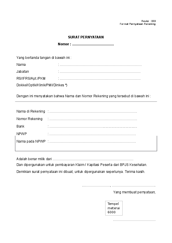 Contoh Surat Pernyataan Rekening Bank Surat 35 Cuitan Dokter