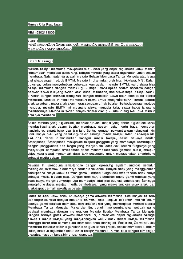 Contoh Proposal Game Edukasi Berbasis Android Barisan Contoh Cute766