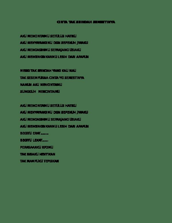 Lirik Lagu Tak Seindah Cinta yang Semestinya - Naff