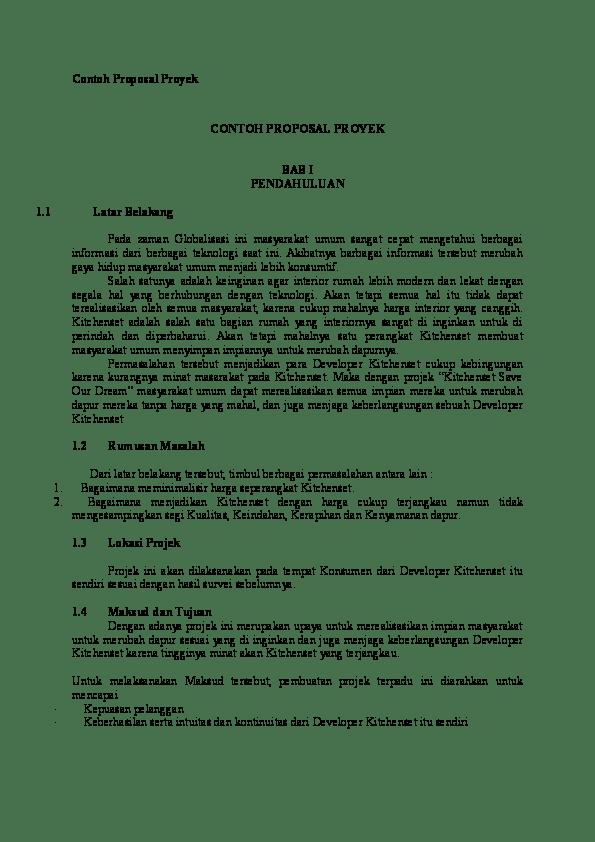 Contoh Latar Belakang Proposal Projek : contoh, latar, belakang, proposal, projek, Contoh, Proposal, Proyek, Rozadila, Academia.edu