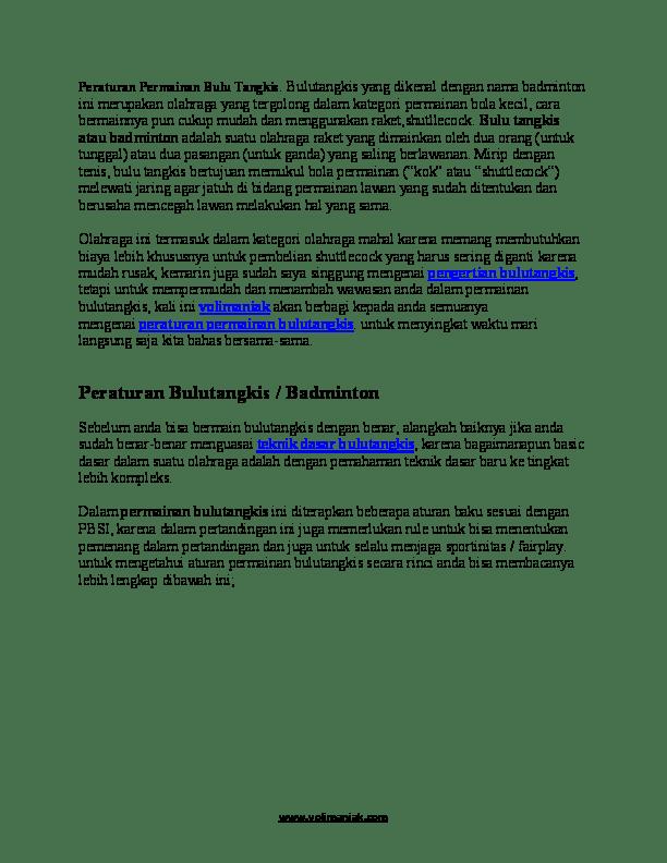 Peraturan Permainan Bulu Tangkis : peraturan, permainan, tangkis, Peraturan, Bulutangkis, Karisma, SpEed, Academia.edu