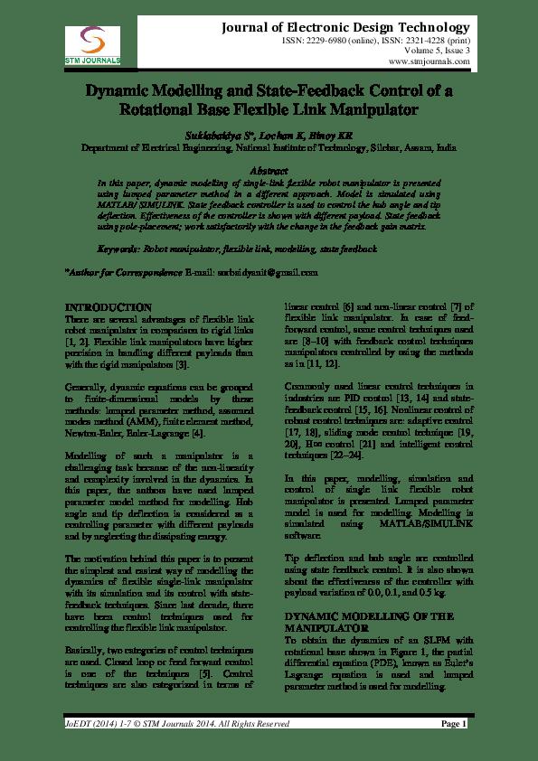 Mini Models Links : models, links, Dynamic, Modeling, State-Feedback, Control, Rotational, Flexible, Manipulator, Binoy, Krishna, Surajit, Suklabaidya, Academia.edu