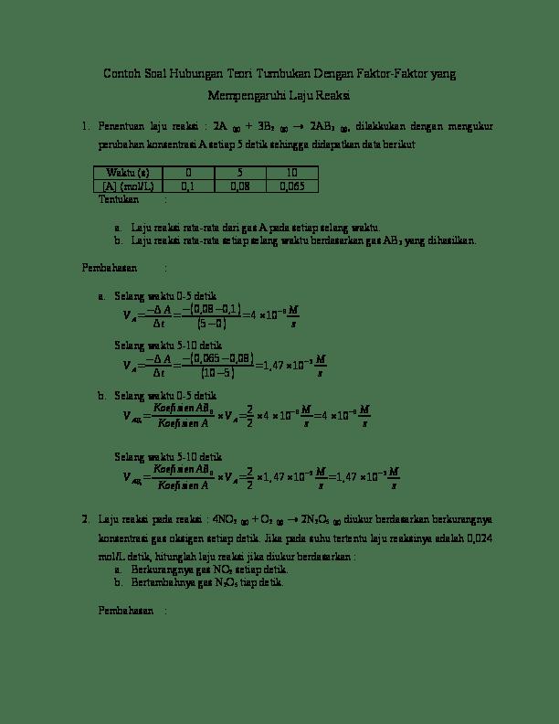 Contoh Soal Laju Reaksi : contoh, reaksi, Contoh, Hubungan, Teori, Tumbukan, Dengan, Faktor, Yunikaputri, Academia.edu