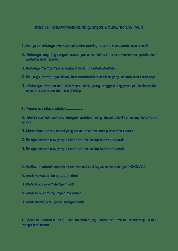 Latihan Soal Ukg Tk 2015 : latihan, Contoh, Tahun, Kunci, Jawaban, IlmuSosial.id