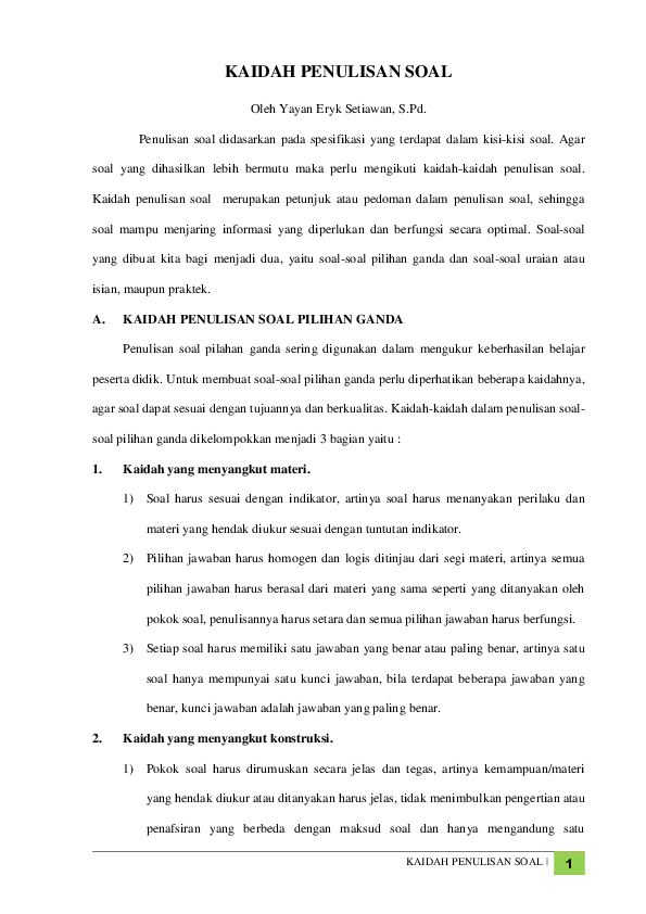 Langkah-langkah Dan Kaidah-kaidah Penulisan Soal Tes Pilihan Ganda : langkah-langkah, kaidah-kaidah, penulisan, pilihan, ganda, SYARAT, KISI-KISI, Rahadiansyah, Academia.edu
