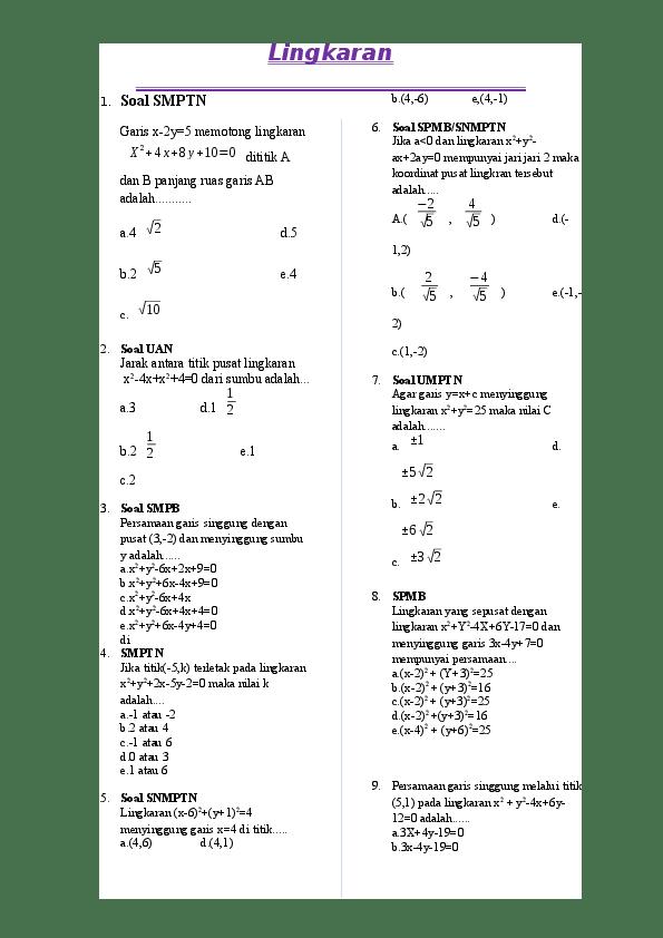 Contoh Soal Persamaan Lingkaran, Jari-Jari, dan Titik