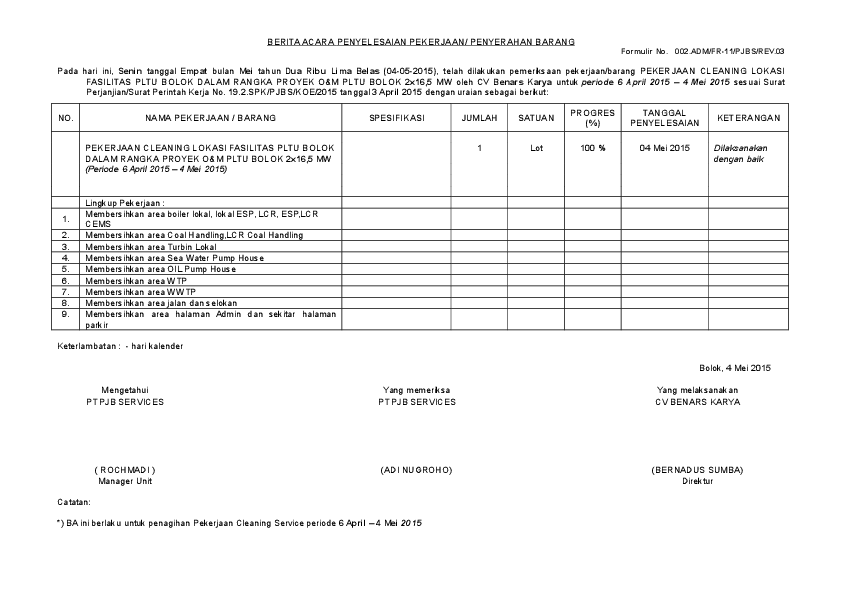 Contoh Laporan Kerja Harian Cleaning Service Kumpulan Contoh Laporan Cute766