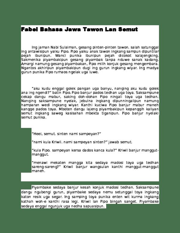 Fabel Bahasa Jawa : fabel, bahasa, Fabel, Bahasa, Tawon, Semut, Faiha, Sekar, Pramesty, Academia.edu