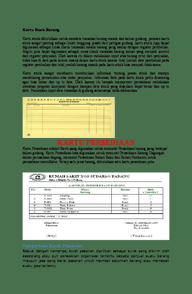 Contoh Kartu Persediaan Barang : contoh, kartu, persediaan, barang, Kartu, Stock, Barang, Novitri, Mulyani, Academia.edu