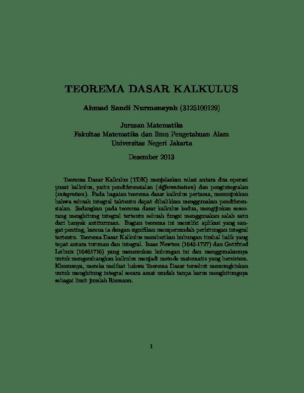 ✓ notasi jumlah dan sigma. Pdf Teorema Dasar Kalkulus 1 2 Ahmad Sandi N Sandi Nurmansyah Academia Edu