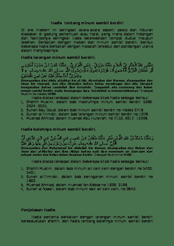 Hadits Larangan Makan Dan Minum Sambil Berdiri : hadits, larangan, makan, minum, sambil, berdiri, Hadis, Tentang, Minum, Sambil, Berdiri, Faqih, Academia.edu