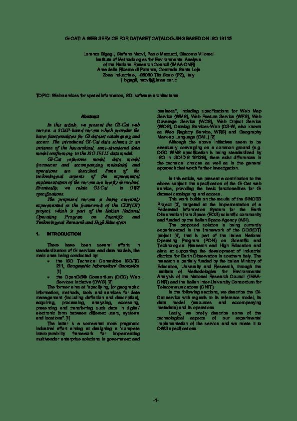 Data Hk Zona : GI-Cat:, Service, Dataset, Cataloguing, Based, 19115, Stefano, Nativi, Academia.edu