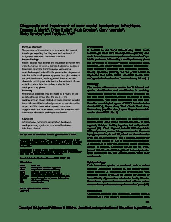 PDF) Diagnosis and treatment of new world hantavirus infections ...