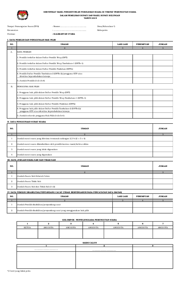Form C1 Pemilu 2019 : pemilu, MODEL, C1-KWK, Alimp, Peccy, Academia.edu