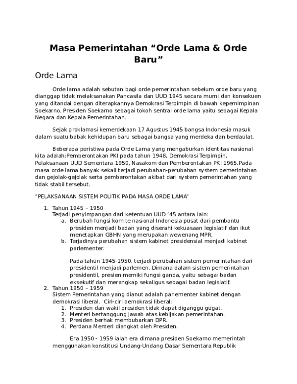 Penyimpangan Masa Orde Lama : penyimpangan, Pemerintahan, Afnas, Academia.edu