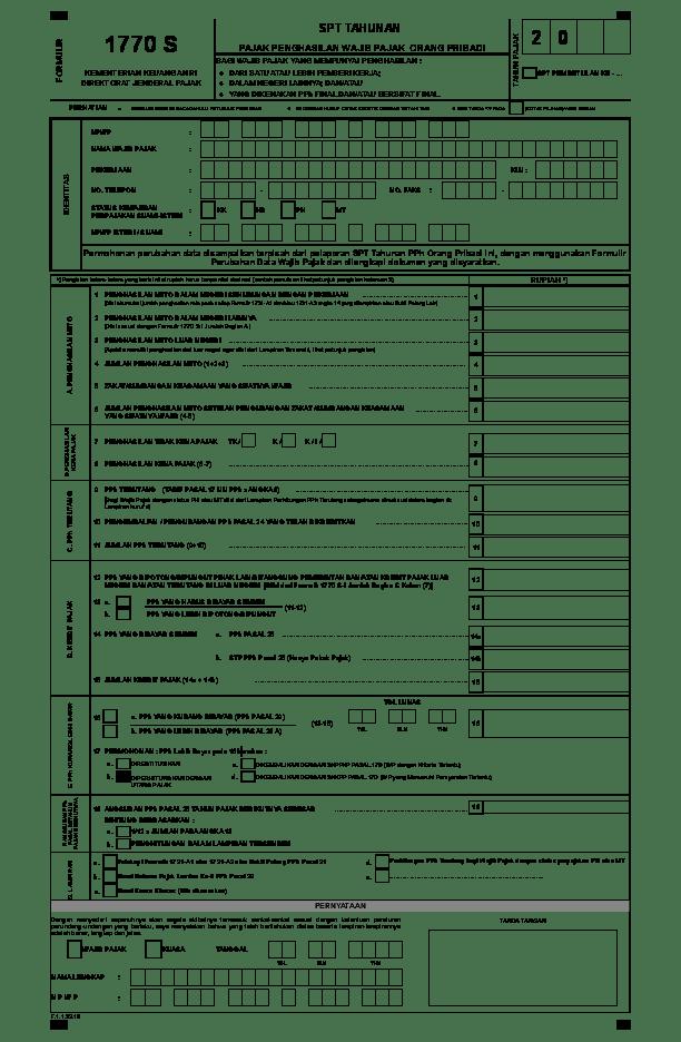 Formulir SPT Tahunan Pribadi 1770, 1770S, dan 1770SS