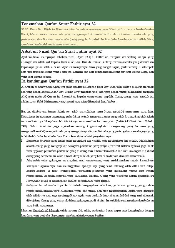 Qs Al Fatir 32 : fatir, Surat, Fatir