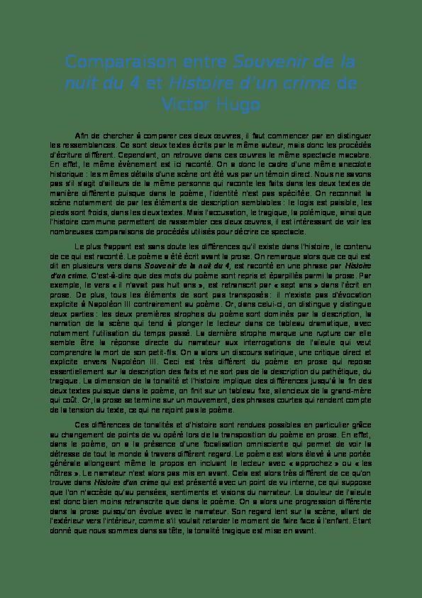 Souvenir De La Nuit Du 4 Victor Hugo : souvenir, victor, Comparaison, Entre, Souvenir, Histoire, Barletta, Manon, Academia.edu