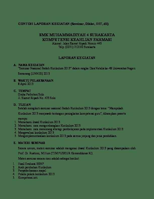 Contoh Laporan Pelaksanaan Kegiatan Sekolah Cute766