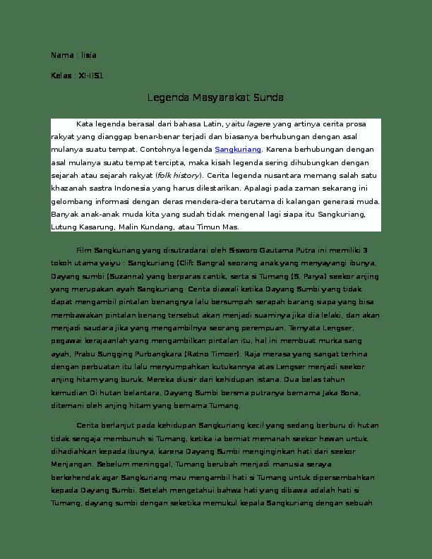 Cerita Singkat Sangkuriang : cerita, singkat, sangkuriang, Nilai-nilai, Dalam, Legenda, Sangkuriang, Lisia, Academia.edu