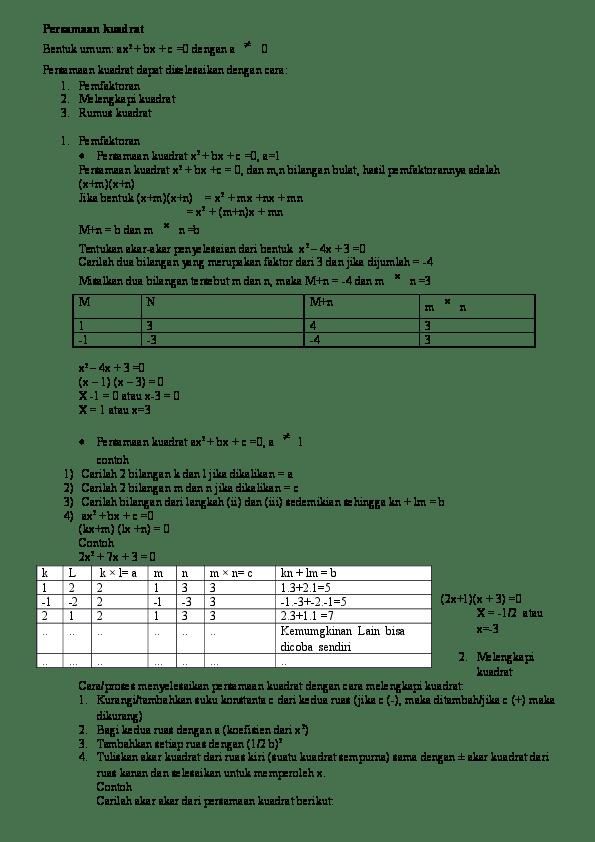 PDF Sumber belajar penunjang plpg 2017 | PERSAMAAN KUADRAT