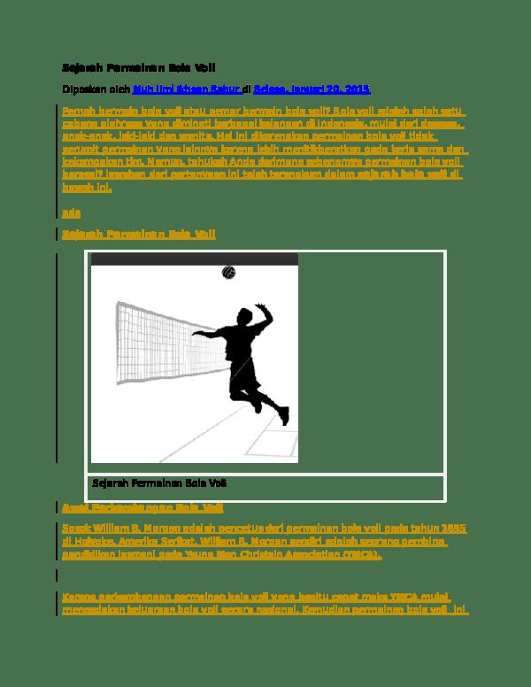 Sejarah Bola Volley : sejarah, volley, Sejarah, Permainan, Remon, Academia.edu