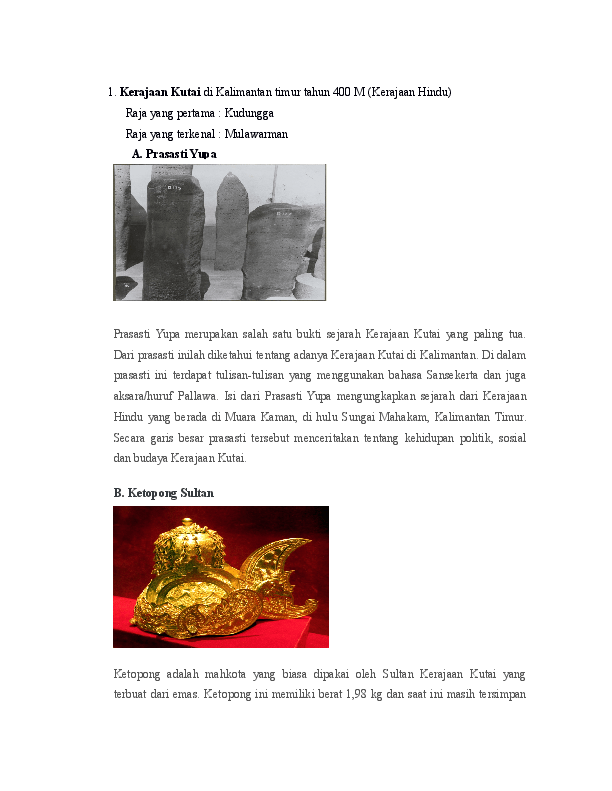 Isi Yupa Kerajaan Kutai : kerajaan, kutai, Kerajaan, Kutai, Kalimantan, Timur, Tahun, Goplah, Ratus, Academia.edu
