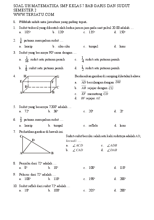 Soal Garis Dan Sudut Kelas 7 : garis, sudut, kelas, MATEMATIKA, KELAS, GARIS, SUDUT, SEMESTER, Muhammad, Shiddiq, Academia.edu