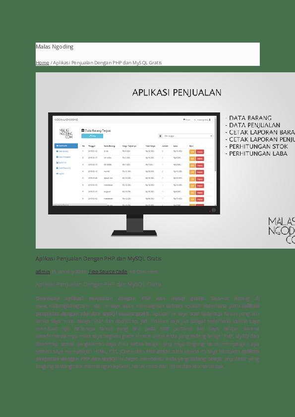 Cara Membuat Cetak Laporan Di Php : membuat, cetak, laporan, Aplikasi, Penjualan, Dengan, Mysql, Ahmad, Maulana, Academia.edu