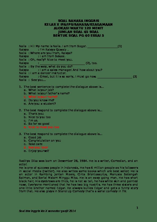 Soal Pilihan Ganda Tentang Congratulating And Complimenting : pilihan, ganda, tentang, congratulating, complimenting, BAHASA, INGGRIS, KELAS, IPA/IPS/BAHASA/KEAGAMAAN, ALOKASI, WAKTU, MENIT, JUMLAH, BENTUK, ESSAI, Hendra, Yusuf, Academia.edu