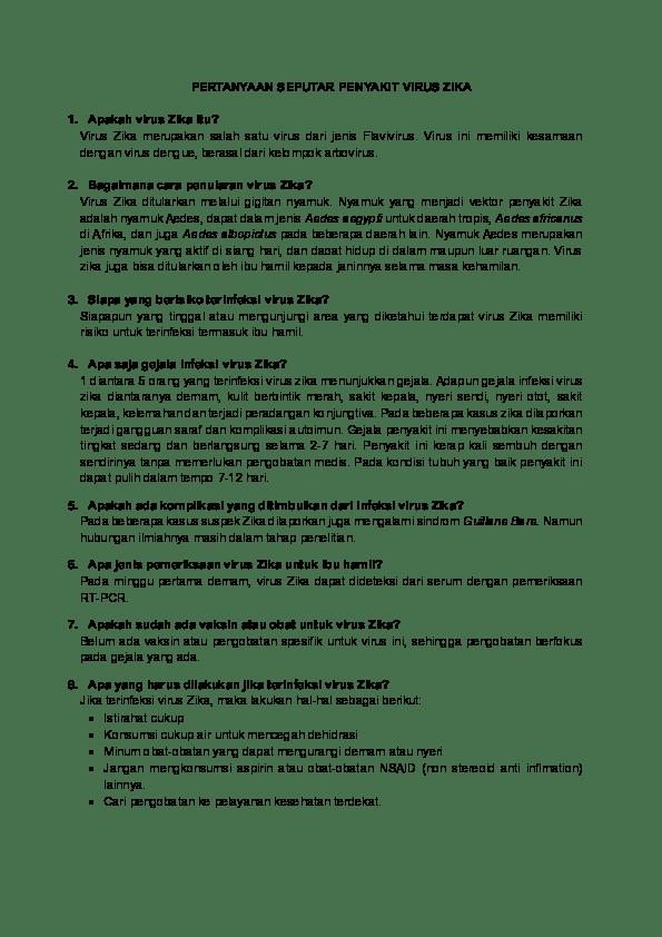 PDF) PERTANYAAN SEPUTAR PENYAKIT VIRUS ZIKA | Andre Hazazi ...