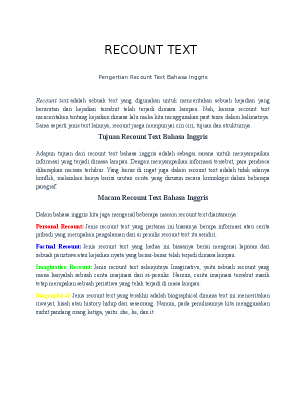 Pengertian Recount : pengertian, recount, RECOUNT, Pengertian, Recount, Bahasa, Inggris, Generic, Structure, Rizal, Academia.edu