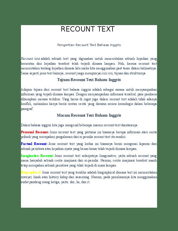 Pengertian Recount : pengertian, recount, Recount, Pengertian, Bahasa, Inggris, Generic, Structure, Cute766