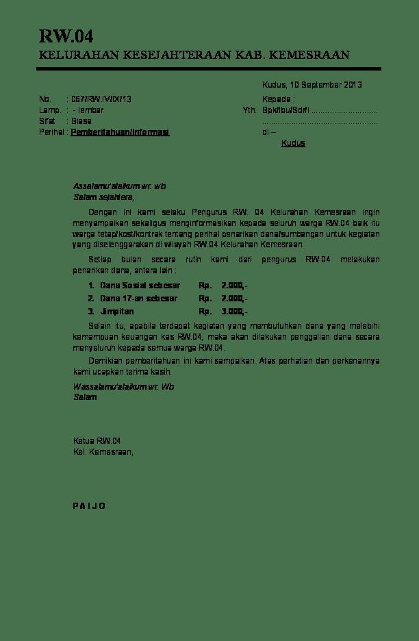 Contoh Surat Pemberitahuan Iuran Bulanan Rt Kumpulan Surat Penting Cute766
