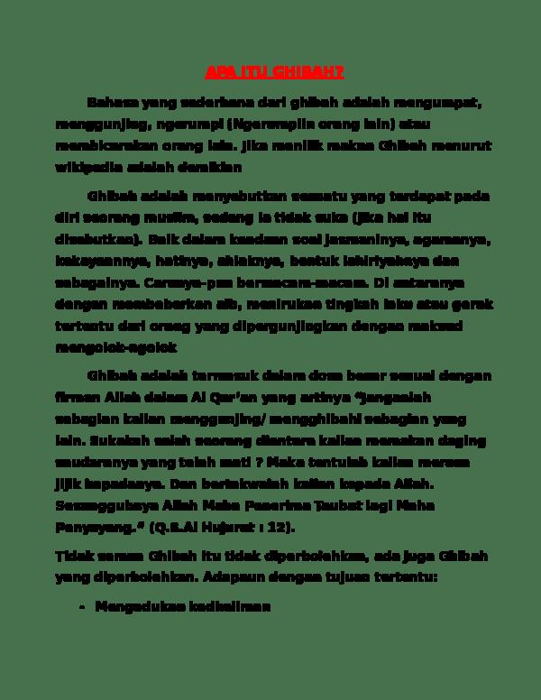 Arti Kata Ghibah : ghibah, GHIBAH, Atiqah, Hayuning, Academia.edu