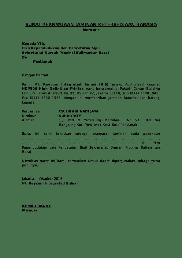Surat Garansi Produk : surat, garansi, produk, Contoh, Surat, Jaminan, Garansi, Produk, Terbaru