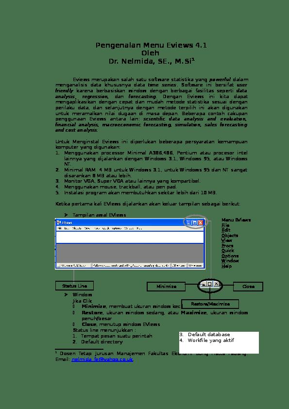 Uji Stasioneritas Eviews : stasioneritas, eviews, Langkah-langkah, Penggunaan, Eviews, Wisnu, Setia, Nugroho, Academia.edu