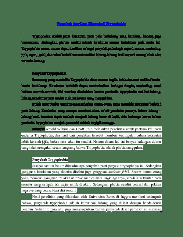Cara Menyembuhkan Trypophobia : menyembuhkan, trypophobia, Penyebab, Mengobati, Trypophobia, Dunia, Academia.edu