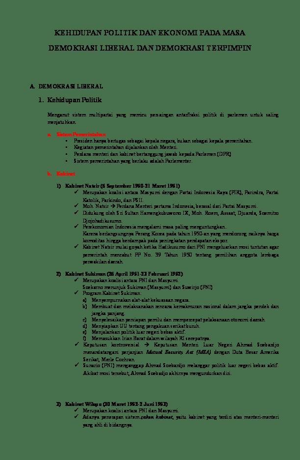 Pada Masa Demokrasi Liberal Bangsa Indonesia Menganut Sistem Pemerintahan : demokrasi, liberal, bangsa, indonesia, menganut, sistem, pemerintahan, RANGKUMAN, KEHIDUPAN, POLITIK, EKONOMI, DEMOKRASI, LIBERAL, TERPIMPIN, Shofia, Nasifah, Academia.edu