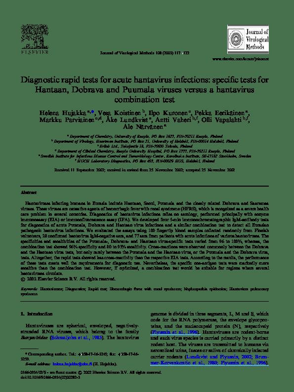 PDF) Diagnostic rapid tests for acute hantavirus infections ...